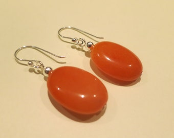 Orange agate earrings, sterling silver hooks, free shipping