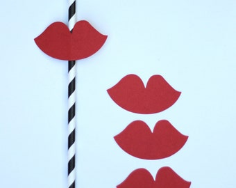 Paper Straw Flags Red Lips Pack of 25