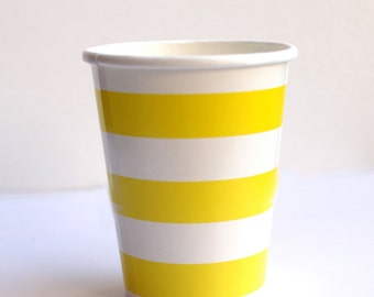 Yellow Striped Paper Cups Pack of 12 Party Decor Paper Goods