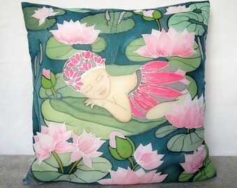 Silk nursery pillow cover Child room decor Princess pillow Girls room art Couch cushion cover Pillowcase Hand painted pillow Christmas gift
