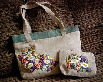 Summer Colors Beach Bag & Vanity Bag Set. Silk Ribbon Embroidery. Embroidered Flower Bag. Cosmetic Bag. Summer Handbag. Summer tote.