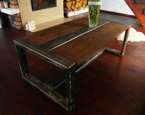 Items similar to handmade reclaimed wood steel coffee table vintage rustic industrial coffee Rustic wood and metal coffee table