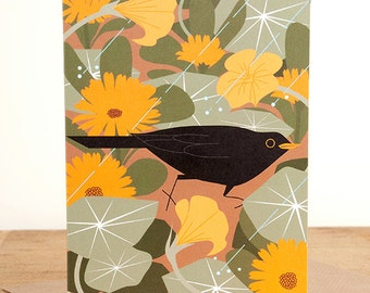 Blackbird in summer shower greetings card