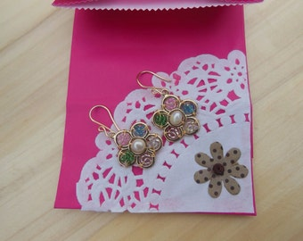 Color flower with freshwater pearl earrings