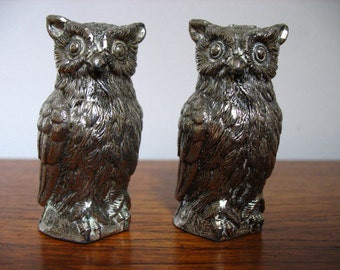 Silverplated Salt & Pepper Shakers Owls.