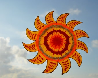 Mandala decal, Window suncatcher, Spiritual gifts, Sun and moon decor
