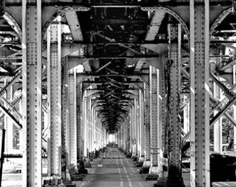 under the tracks print / photo / chicago el / train tracks