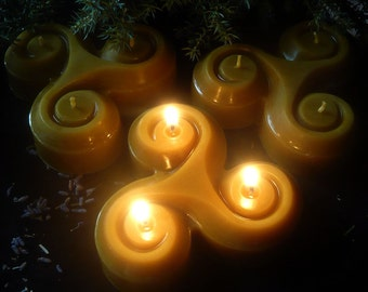 Beeswax Triskelion Candle - Triskele, Pagan, Witchcraft