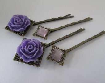 Purple Flower Hair Pin, 4 Purple Hairpins, Antique Bronze Bobby Pins with Purple Flower, Cateye Square