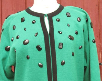 Kelly Green 1980s Tricoville Bejeweled Dress