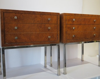 Pair Of Mid-Century Modern Nightstands By Lane Furniture With Two Drawers And A Faux Tortoiseshell Finish On All Four Sides.