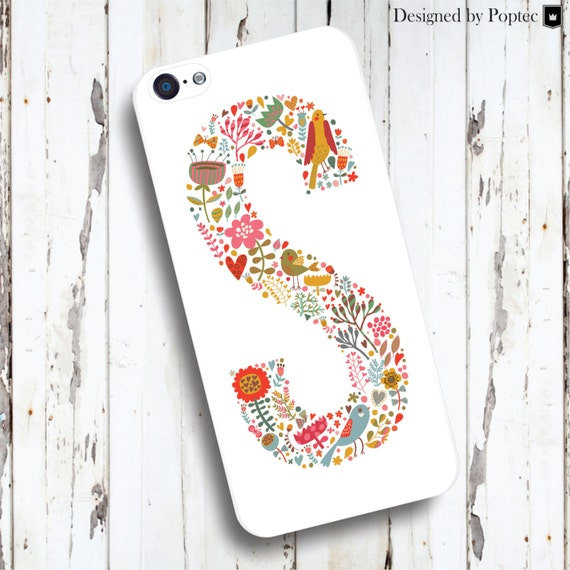 Beautiful alphabet letter design with flower elements. Unique and very special case design. High quality case, designed by Poptec.