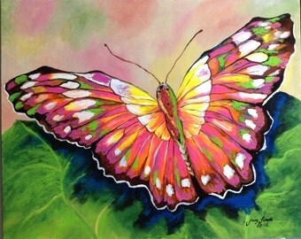 """Butterfly Painting Acrylic 16""""x20"""" canvas panel ready for framing"""