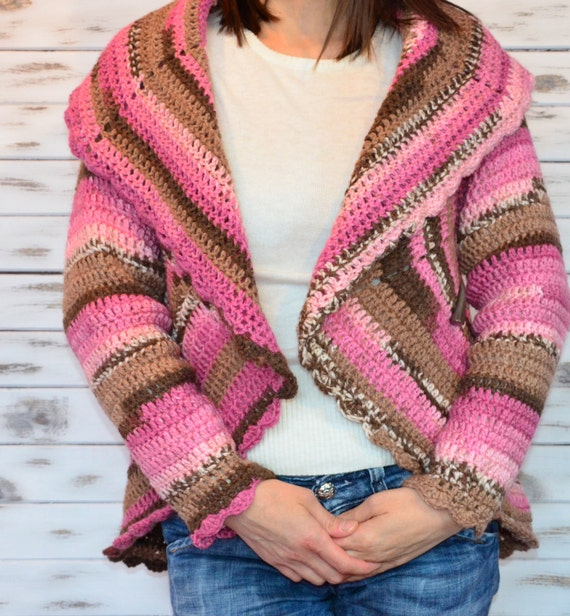 Knitting Pattern Circle Jacket : Crochet Cardigan Knitted jacket Circle cardigan women knit