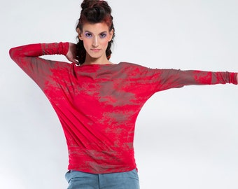 Red Top, Batwing Top, Loose Blouse, Oversized Blouse, Long Sleeve Blouse, Urban Fashion Top, Boho Chic Clothing, Casual Top, Red Blouse