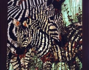 Glass mosaic zebra wall hanging