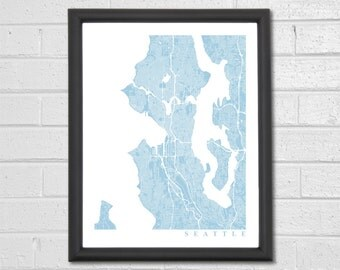 Seattle Map Art - Map Print - Custom Map - Seattle Map - Map Print - Map Art - Seattle Washington - Home Decor - Anniversary Gift - Home Map