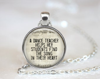 Dance Teacher Pendant, Dance Teacher Gift, Dance Gift, Dance Recital Gift