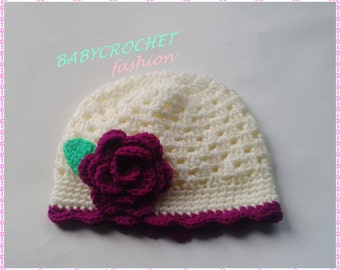 Crochet Baby Hat, Summer Baby Hat, Children Hat, Crochet Beanie Flower, Newborn Baby Girl Hat, Hat for Summer, Baby Hat
