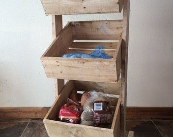 Veggie Stand. Handcrafted from reclaimed white oak boards.