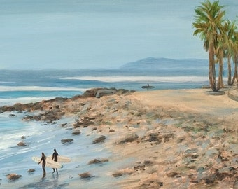 Beach Greeting card, Surfer's Point, the cove, from a original oil painting by Tina O'Brien