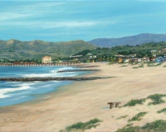 Beach Greeting Card, Pierpont Beach and the Bench, from a oil painting by Tina O'brien