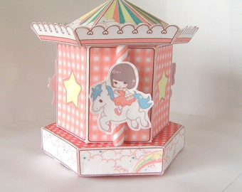 Carousel Merry go round gift cupcake box printable PDF instant download papercraft
