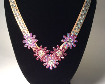 Daisy Rhinestone Crystal Flower Applique Dance or Special Occasion Necklace