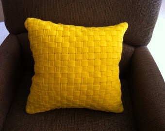 Yellow felt lattice throw pillow