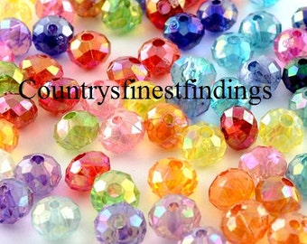 Transparent Acrylic Beads, AB Color Plating, Faceted, Flat Round, Mixed Color  8mm  100 pieces Sale, wholesale A143