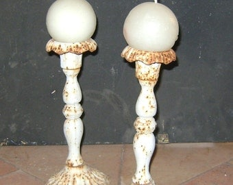 pair of antique candlesticks enameled iron