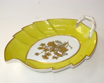 Mottahedeh Yellow Large Leaf Dish / Tray Gold Botanicals Coimbra Portugal - Lisbon ?
