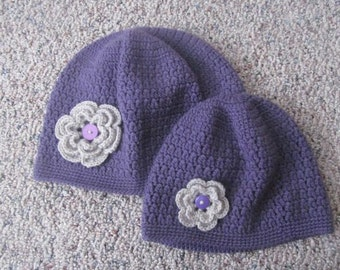 Mommy and Me Beanie Hat Set With Flower, Mother Daughter Beanie Hat