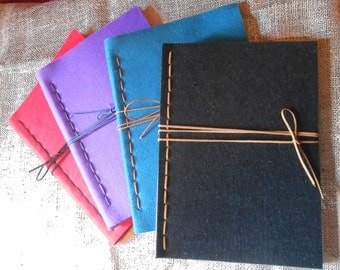 Felt, hand-stitched notebook