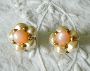 Vintage pink lucite clip earrings