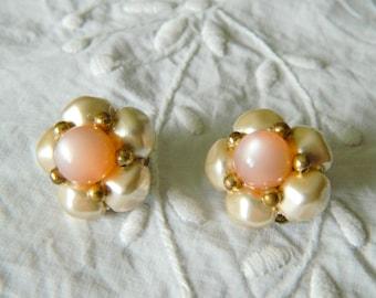 Vintage pink lucite clip earrings