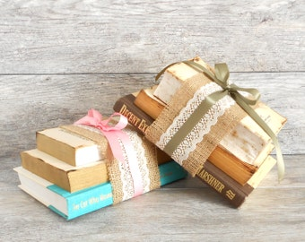 Antique Book Centerpieces - Burlap, Lace and Satin