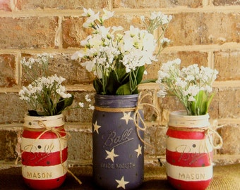 READY TO SHIP! American Flag painted chalk paint mason jar vase set pint quart Ball Mother's Day 4th of July