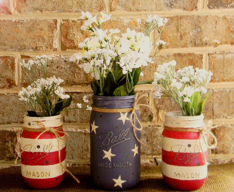 Painted Mason Jars Ready To Ship American Flag Painted Chalk Paint Mason Jar