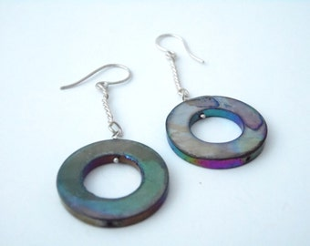 Earrings sterling silver, mother of Pearl, 5% donation