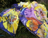 Hand painted silk scarf, Multicolor womens scarf Anniversary Fireworks, purple yellow blue long silk scarf Gift for her