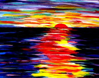Caribbean Sunset.  Abstract. Acrylic on Canvas, ORIGINAL Painting