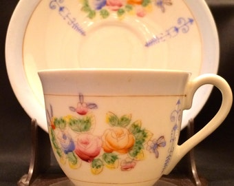 1940's Floral Demitasse Cup and Saucer Occupied Japan