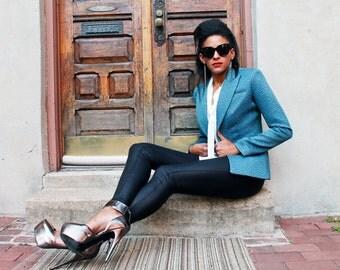 Blue Faux Croc Blazer Jacket