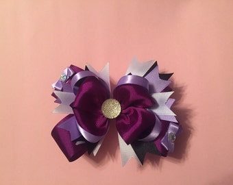 "purple 5"" stacked boutique hair bow"
