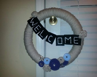 Welcome Door Wreath, spring wreath, yarn wreath, summer wreath, welcome wreath, door decor, front door wreath, front door wreath