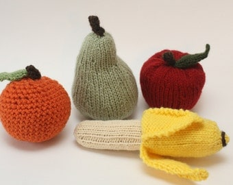 Knit / Crochet Stuffed Fruit - Apple, Orange, Banana, and Pear - Decor or Children's Toys