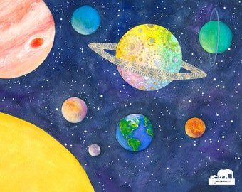 Print of a watercolor painting. Planets of our solar system. Saturn is showing off. We get it. You're pretty.