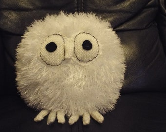 Hand knitted white owl