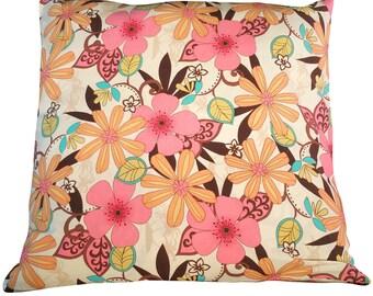 Decorative throw pillow, Decorative pillow cover, 16X16 pillow cover, floral pillow cover,cushion cover, colorful accent pillow